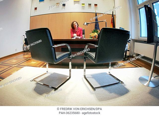 Newly elected Premier of Rhineland-Palatinate, Malu Dreyer (SPD) has taken seat for the first time in her new office at the state chancellery in mainz, Germany