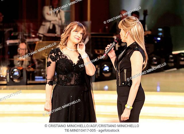 The actress Nastassja Kinski with Milly Carlucci during the tv show Ballando con le stelle, Rome, ITALY-01-04-2017