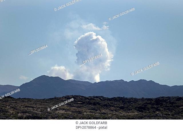Smoke from a fire in the mojave desert, california united states of america