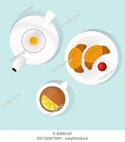 Breakfast flat top view set. Breakfast icons silhouette illustrations. Breakfast from different countries. Breakfast food illustration