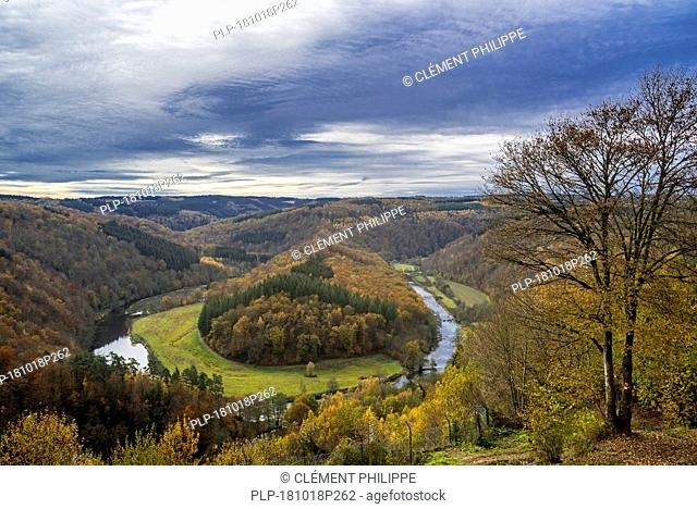 Tombeau du Géant in autumn, wooded hill inside meander of the river Semois at Botassart, Belgian Ardennes, Luxembourg, Wallonia, Belgium