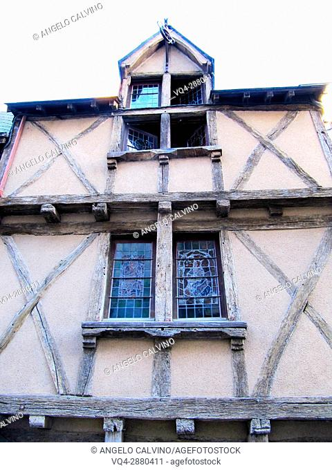 Old half-timbered house in Angers, France.