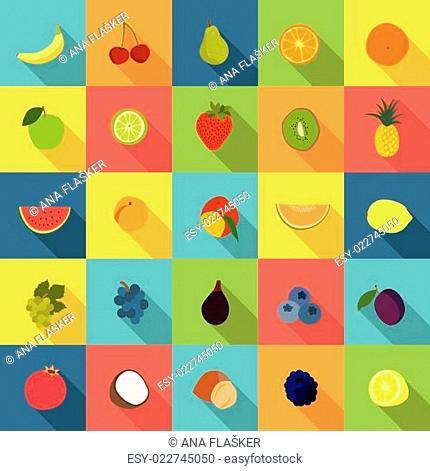 Fruit flat icons vector set