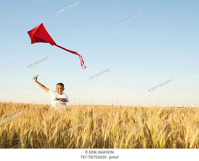 Boy 10-11 playing with kite in wheat field