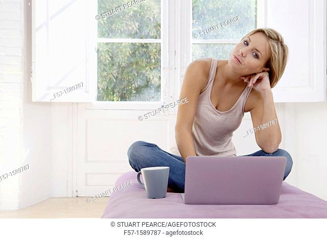 Young woman online