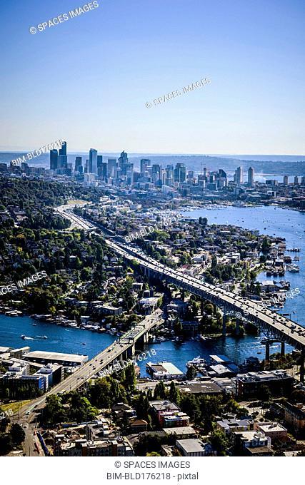 Aerial view of Seattle cityscape, Washington, United States