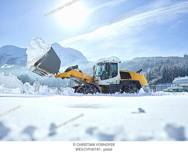 Austria, Tyrol, Hochfilzen, snow-plowing service, snow clearance with wheel loader