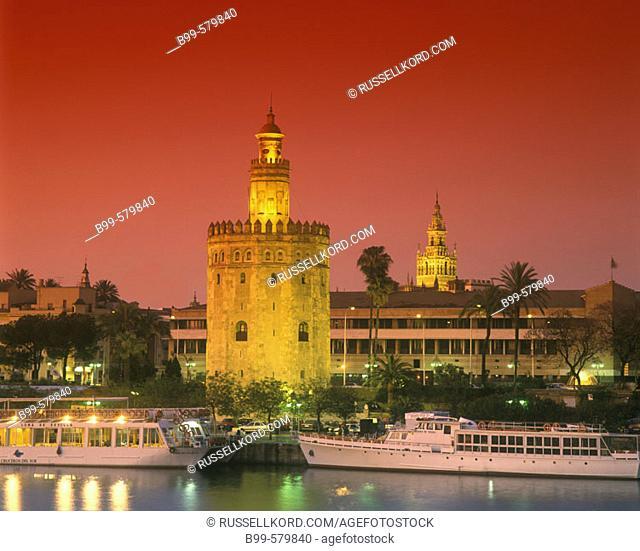 Torre Del Oro, Rio Guadalquivir, Seville, Andalusia, Spain