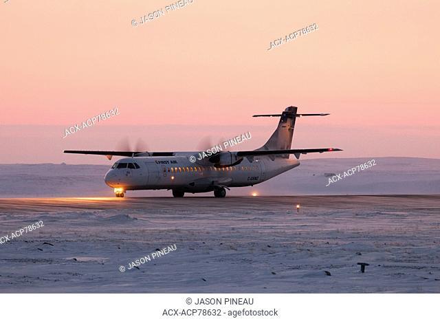 A First Air aircraft lands in Cambridge Bay, Nunavut, Canada