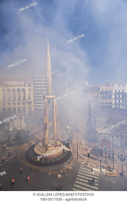 Mascleta firecrakers at the Town Hall of Valencia during the Fallas Festival in Spain