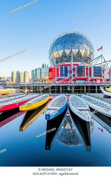 Dragonboats near,Telus Science World, False Creek, Vancouver, British Columbia, Canada