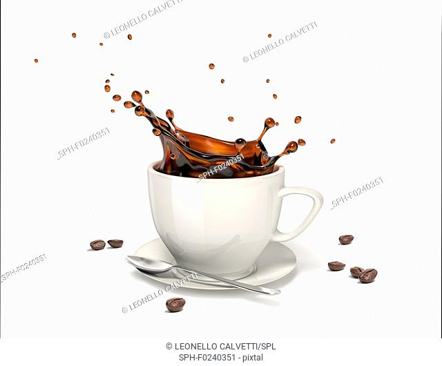 Liquid coffee splash in a white cup on saucer and spoon, With some coffee beans around on the floor