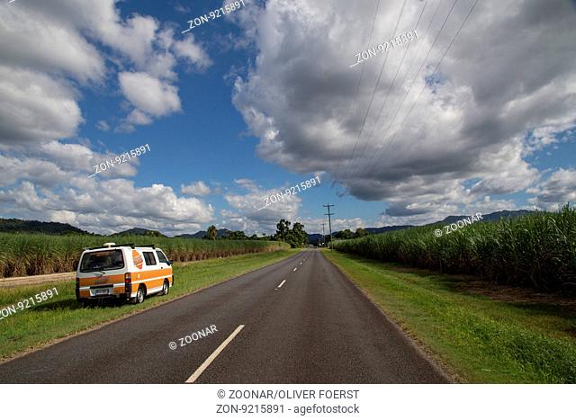 Campervan next to road, Queensland, Australia