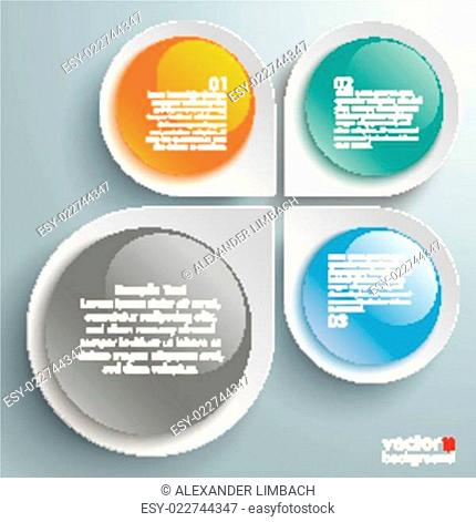 Infographic Colored Abstract Drops Blossom Glossy Buttons