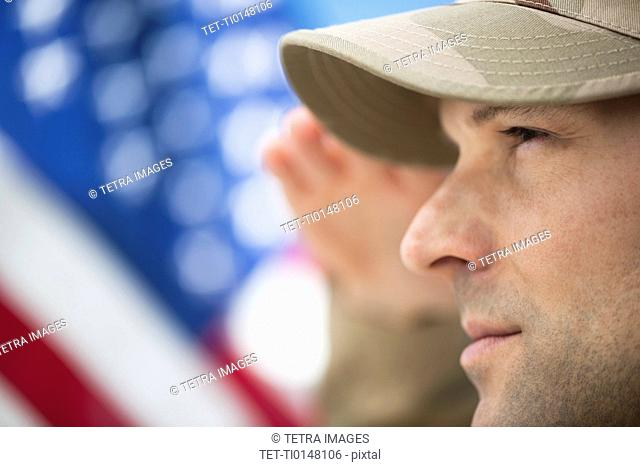 Profile of US army soldier