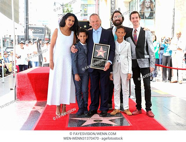 Wolfgang Puck Honored With Star On The Hollywood Walk Of Fame Featuring: Gelila Assefa, Wolfgang Puck, Byron Puck, Alexander Wolfgang Puck, Cameron Puck