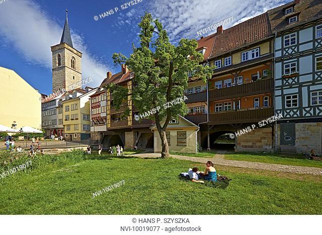 Kraemerbruecke with Aegidien church in Erfurt, Thuringia, Germany, Europe