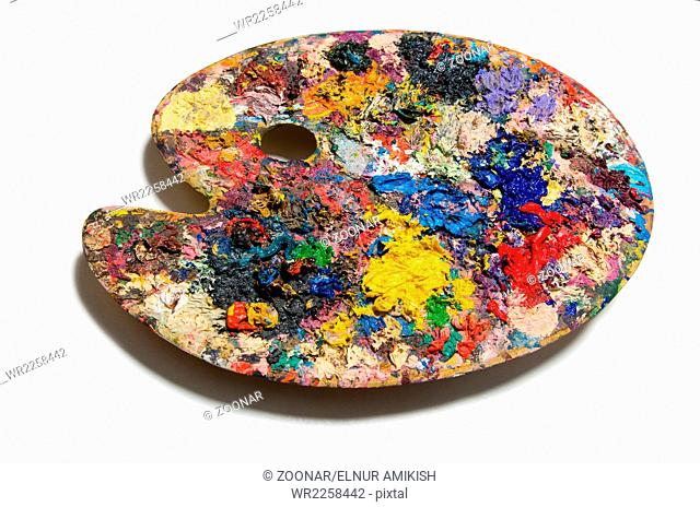 The artist palette isolated on the white