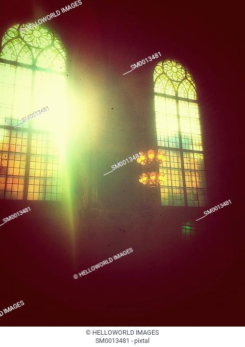 Sunlight flooding through window of Storkyrkan (Stockholm Cathedral), Gamla Stan, Stockholm, Sweden, Scandinavia
