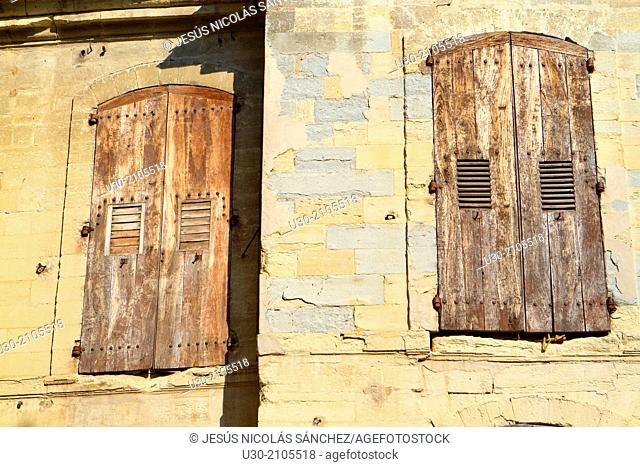 Typical windows house in Uzes town. Gard department. Languedoc-Roussillon region, France