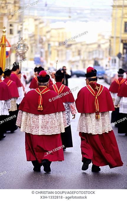 religious procession in the street, Victoria, Gozo, Malta, Mediterranean Sea, Europe