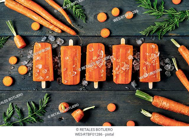 Carrot ice popsicles