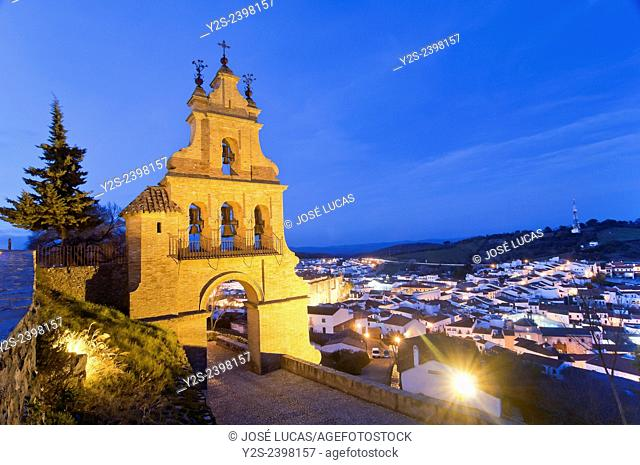 Belfry gate of the castle and village at dusk, Aracena, Huelva province, Region of Andalusia, Spain, Europe