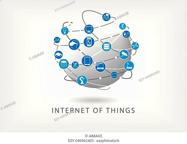 Internet of things connected world wide web illustration