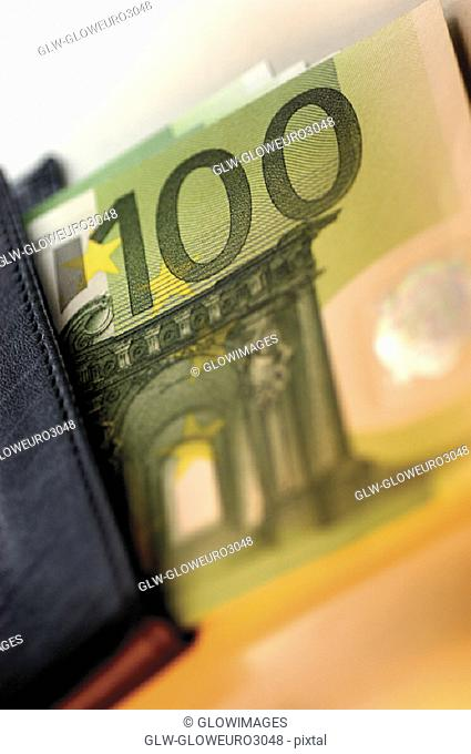 Close-up of a hundred Euro banknote