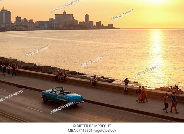 Waterfront Malecon at sunset, Havana, Cuba