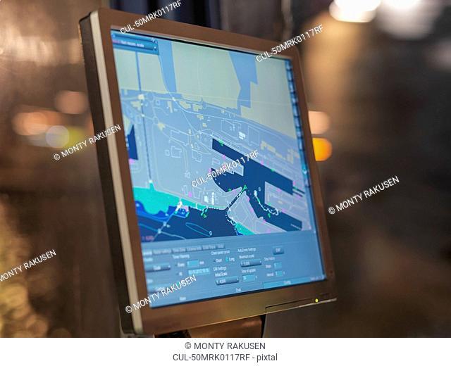 Digital map on tugboat computer