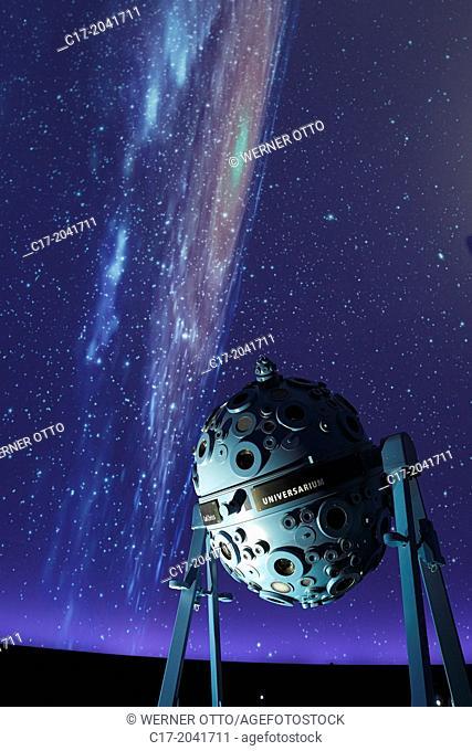 Germany, Bochum, Ruhr area, Westphalia, North Rhine-Westphalia, NRW, Zeiss Planetarium, interior view, auditorium, astronomy, spangled sky, starry conopy, dome