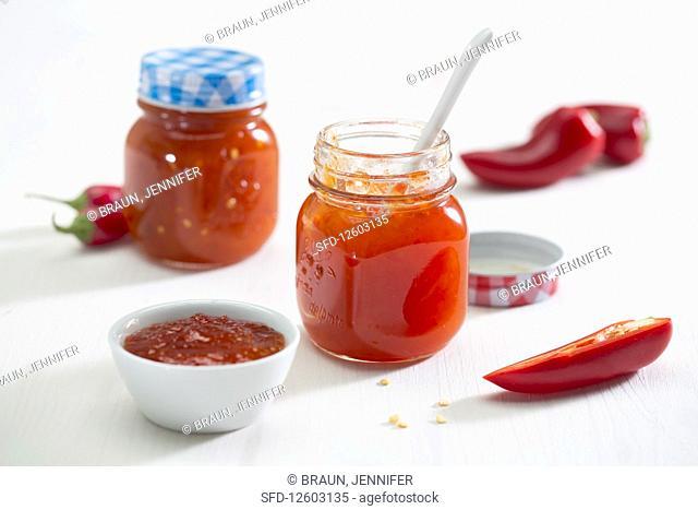 Chilli chutney in jars