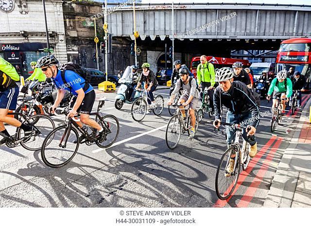 England, London, London Bridge, Cyclists Commuting to Work