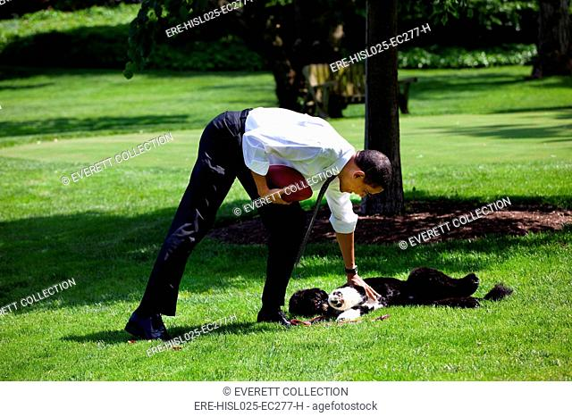 President Barack Obama pets the family dog Bo during a brief break from meetings on the South Lawn of the White House. May 12 2009