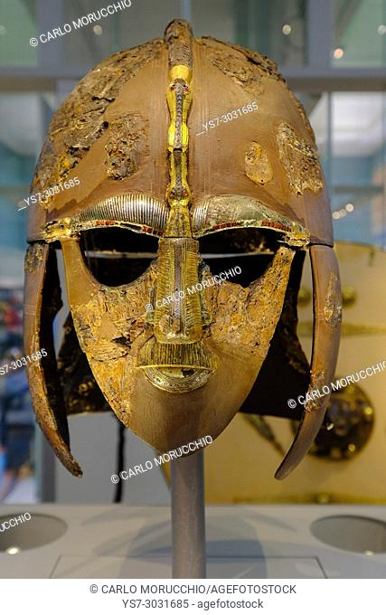 Helmet from the ship burial at Sutton Hoo, the British Museum, London, United Kingdom