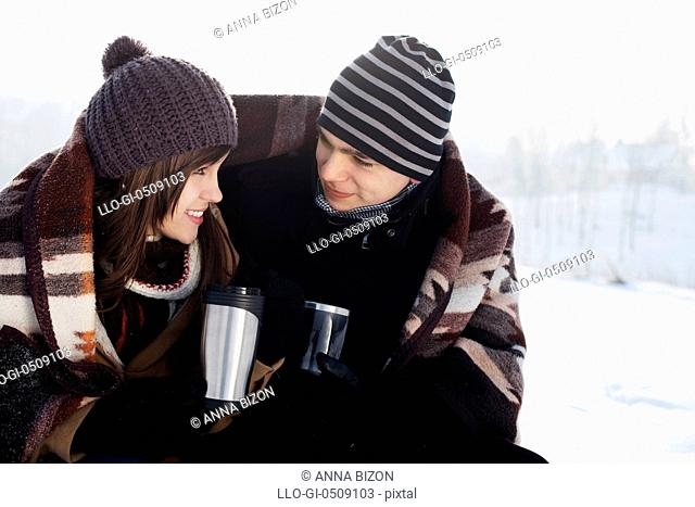 Young couple in winter Debica, Poland