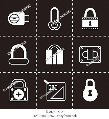 Vector Lock icon set on black background
