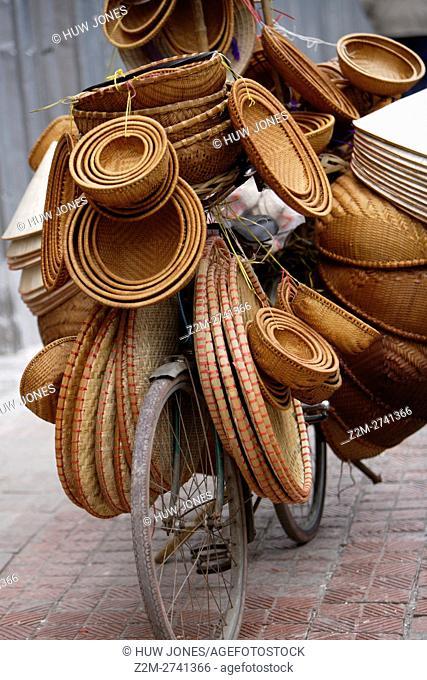 Traditional Basket Seller in Hanoi, North Vietnam