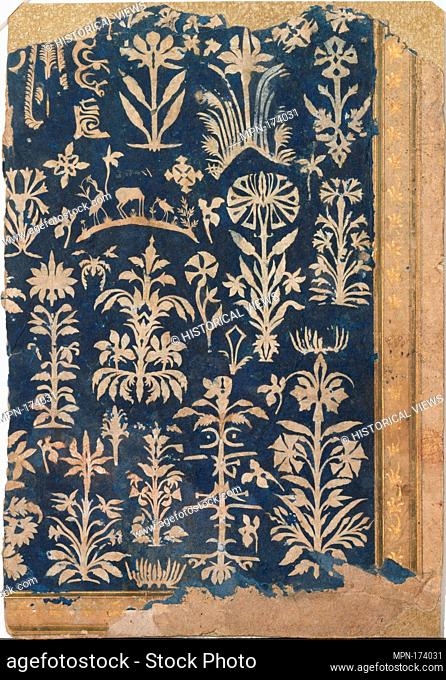 Album Page with Cut-Paper Decoration. Object Name: Illustrated album leaf; Date: ca. 1625-50; Geography: Made in India; Medium: Cut paper on paper