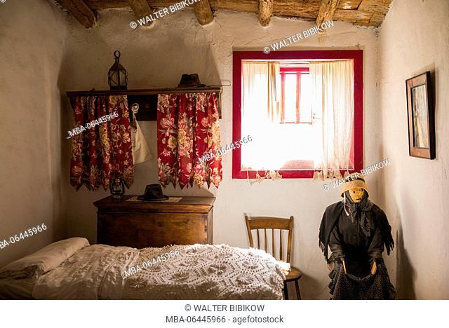 Spain, Canary Islands, Lanzarote, Tiagua, Museo Agricola El Patio, farm museum, peasant house interior