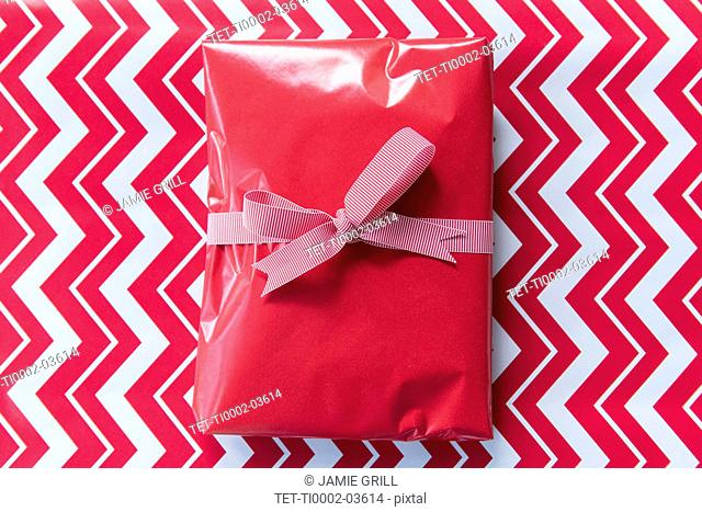 Christmas present with ribbon