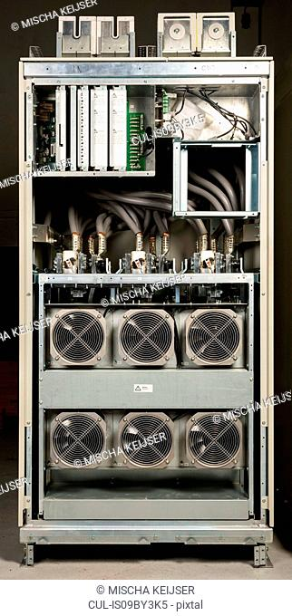 View inside cabinet that regulates flow of electricity to servers