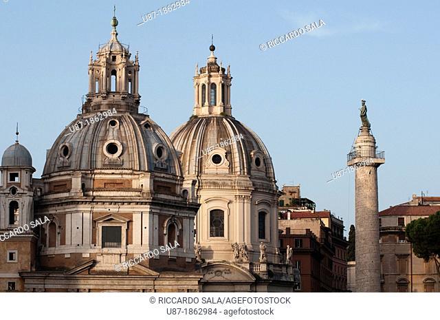 Italy, Lazio, Rome, Churches of Santa Maria di Loreto Santissimo Nome di Maria and Trajan's Column view from Piazza Venezia Square