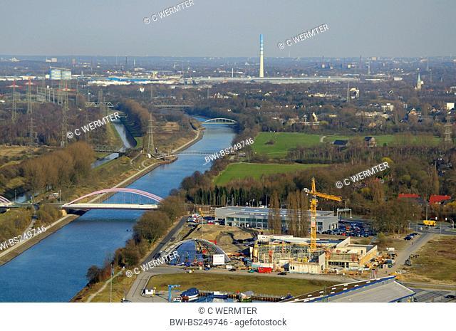 view from gasometer of Rhein Herne chanel and Emscher river, Germany, North Rhine-Westphalia, Ruhr Area, Oberhausen