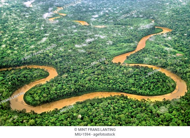 Meandering river through lowland rainforest aerial, Tambopata National Reserve, Peru