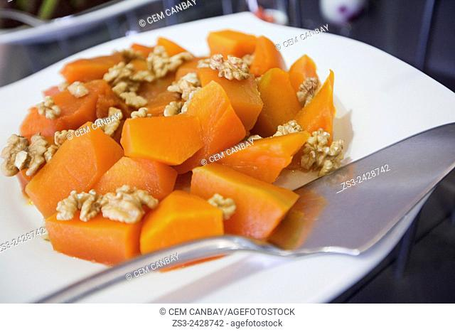 Turkish pumpkin dessert with walnut, Kabak Tatlisi, Istanbul, Turkey, Europe