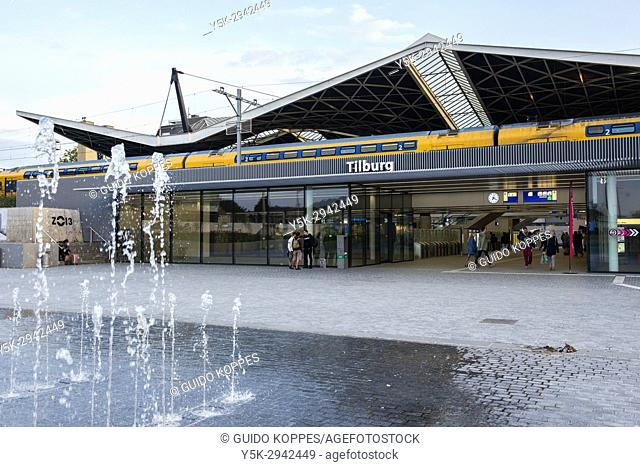 Tilburg, Netherlands. The Northern entrance with aquare of Tilburg's main Railway Station