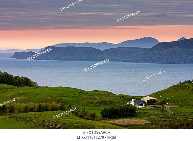 landscape view of Ardmore Point at sunset, Isle of Mull, Scotland