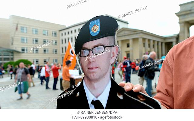 Cardboard cutout of Bradley Manning stands in front of the Brandenburg Gate during demonstration 'Alliance for Bradley Manning' in Berlin, Germany, 01 June 2013